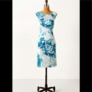 Maeve blue marbled waters shift dress